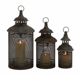 Rustic Finish Stylish Metal Candle Lantern by Woodland Import