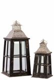 Rustic Glass Paneled Wooden Lantern w/ Cross Design & Metal Roof Set of Two in Black