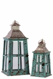 Rustic Glass Paneled Wooden Lantern w/ Cross Design & Metal Roof Set of Two in Blue