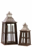 Rustic Glass Paneled Wooden Lantern w/ Cross Design & Metal Roof Set of Two in Brown