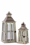 Rustic Glass Paneled Wooden Lantern w/ Cross Design & Metal Roof Set of Two in White