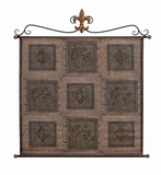 "Rustic Leather Wall Hanging W Metal Scroll 45""x42"" Brand Woodland"