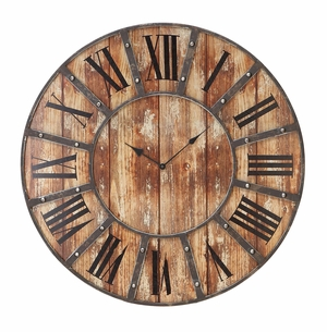 Rustic Metal and Wood Clock With Large Roman Numerals Brand Woodland