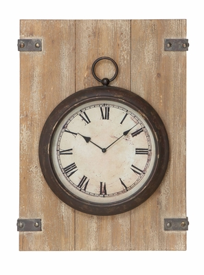 Rustic Metal Clock - Vintage Timepiece With Roman Numerals Brand Woodland