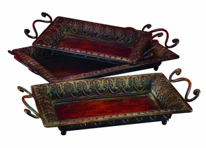 Rustic Metal Trays with Smooth Textured Side Handles - Set of 3 Brand Woodland