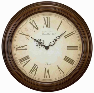 Rustic Metal Wall Clock in Round Shaped with Antiqued Design Brand Woodland