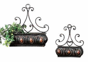 Rustic Metal Wall Planter with Artistic Detailing - Set of 2 Brand Woodland