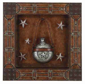 Rustic Metal Wall Plaque in Brown Finish with Artistic Design Brand Woodland