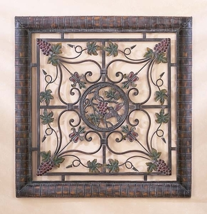 Rustic Metal Wall Plaque in Multi Color with Delicate Design Brand Woodland