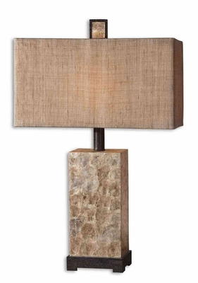 Rustic Mother Of Pearl Table Lamp with Bronze Details Brand Uttermost