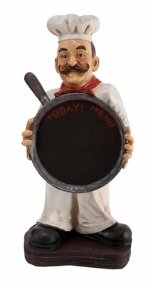 Rustic Poly Resin Chef with Pan Decor with Elegant Look Brand Woodland