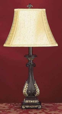 Rustic Poly Resin Table Lamp with Elegant Carved Design Brand Woodland