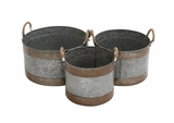 Rustic Set of 3 Metal Galvanized Planter by Woodland Import