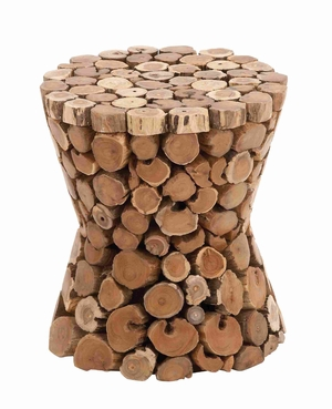 "Rustic Teak Material 17"" Wooden Stool in Rich Natural Textures Brand Woodland"