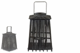 Rustic & Traditional Lantern in Thatched Hut Design w/ Parallel Wooden Stick in Black Large