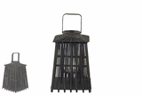 Rustic & Traditional Lantern in Thatched Hut Design w/ Wooden Sticks in Black Medium