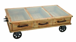 Rustic Wood And Glass Coffee Table Cart With Portable Wheels Brand Woodland