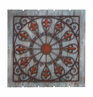 Rustic Wood and Metal Panel with Fleur-de-lis Detailing Brand Woodland