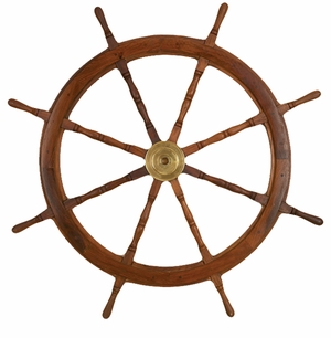 Rustic Wood Brass Ship Wheel Decor with Exquisite Detailing Brand Woodland