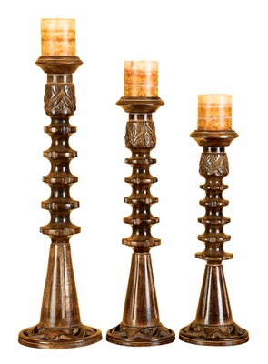 Rustic Wood Candle Holder with Modern Design - Set of 3 Brand Woodland