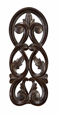 Rustic Wood Wall Plaque in Brown Color with Curvy Design Brand Woodland
