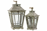 Rustic Wooden Lantern Set of Two w/ Jute Rope Handle