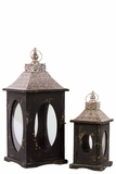 Rustic Wooden Lantern Set of Two w/ Oval Shaped Glass panel & Metallic Roof in Black