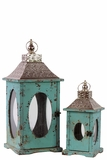 Rustic Wooden Lantern Set of Two w/ Oval Shaped Glass panel & Metallic Roof in Blue