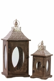 Rustic Wooden Lantern Set of Two w/ Oval Shaped Glass panel & Metallic Roof in Brown