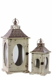 Rustic Wooden Lantern Set of Two w/ Oval Shaped Glass panel & Metallic Roof in White