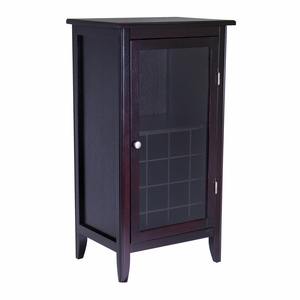 Winsome Wood Ryan 16-Bottle One Door Wine Cabinet With Glass Rack