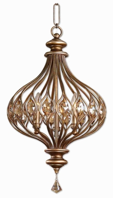 Sabina 3 Light Pendant Lamp With Burnished Gold Teak Crystals Brand Uttermost