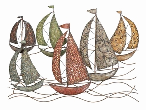 Sail Boats Nautical Metal Wall Decor Sculpture in Multicolor Brand Woodland