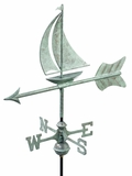 Sailboat Garden Weathervane - Blue Verde Copper w/Roof Mount by Good Directions