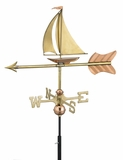 Sailboat Garden Weathervane - Polished Copper w/Roof Mount by Good Directions