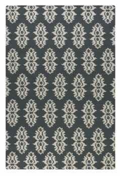 Saint George Blue Grey 8' Woven Wool Rug with Off White Details Brand Uttermost