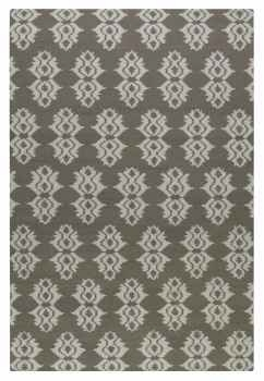 Saint George Mushroom Brown 8' Woven Rug with Off White Details Brand Uttermost