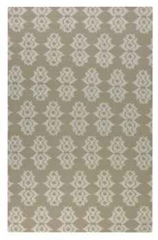 Saint George Natural 8' Woven Wool Rug with Off White Details Brand Uttermost
