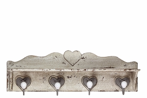 Salisbury Wooden Wall Hook Distressed White