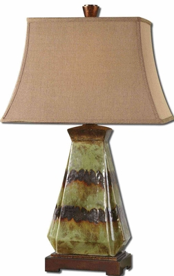 Salvio Ceramic Table Lamp with Dark Bronze Detailing Brand Uttermost