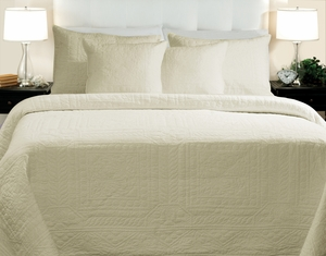 San Marino Collection Adele Ivory Color Queen Quilt Set, 3-Piece by Greenland Home Fashions