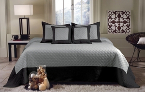 San Marino Collection Brentwood Storm Gray/Black Color Standard Sham by Greenland Home Fashions