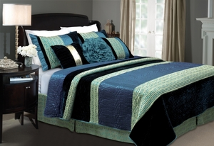 San Marino Collection Sapphire Velvet Blue Color King Sham by Greenland Home Fashions