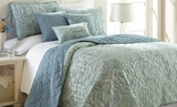Bali Queen Size Reversible Quilt Set of Six Pieces in Blue Shade