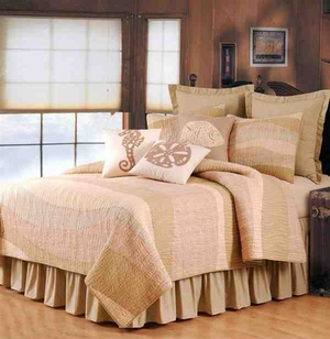Sand Dunes Coastal Nautical Quilt Luxury Queen  Bedding Ensembles Brand C&F