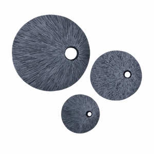 Sandstone Ribbed Round Wall Decor, Top Hole, 20 x 20 x 7 Inch Brand Screen Gems