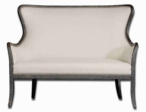 Sandy White Loveseat Chair With Exposed Mahogany Wood Frame Brand Uttermost