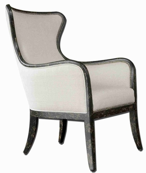 Sandy Wing Back Armchair In Shimmery White Brand Uttermost