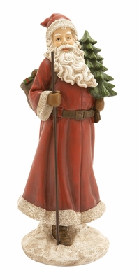 Santa Figurine with Christmas Tree Holiday Decor