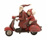 Santa Riding Scooter with Child Holiday Decor